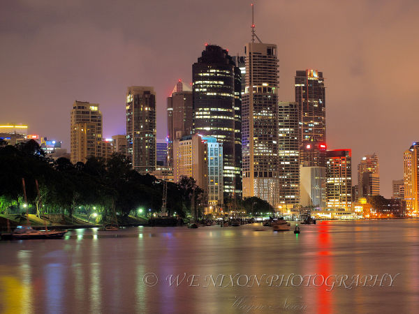 night scenes, reflections, brisbane city, river, lights, water, landscapes, photography, long exposure