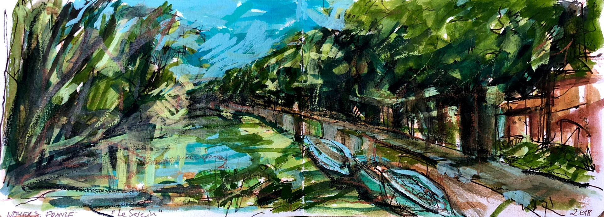 Sketch for Le Serein River boats