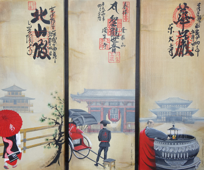 JAPANESE TEMPLE TRYPTIC