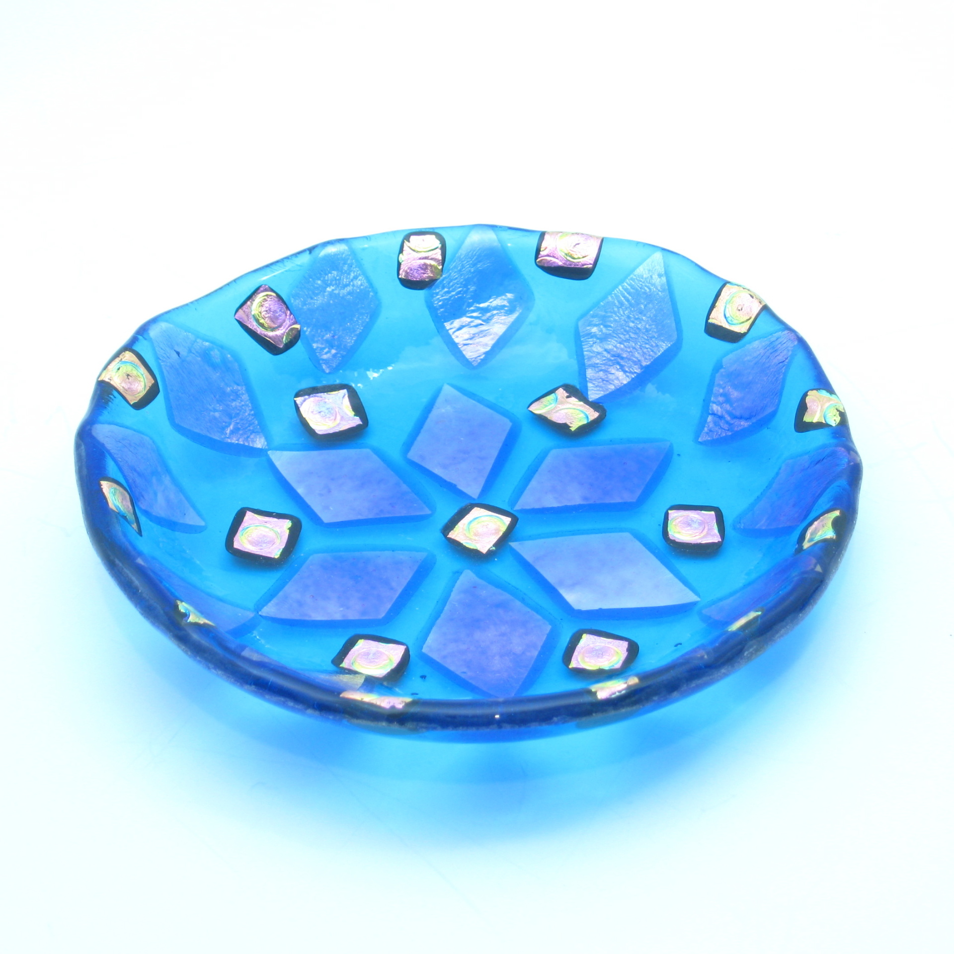 small dichroic fused glass dish