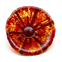 red fused glass salsa bowl