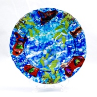 impressionist fused glass platter