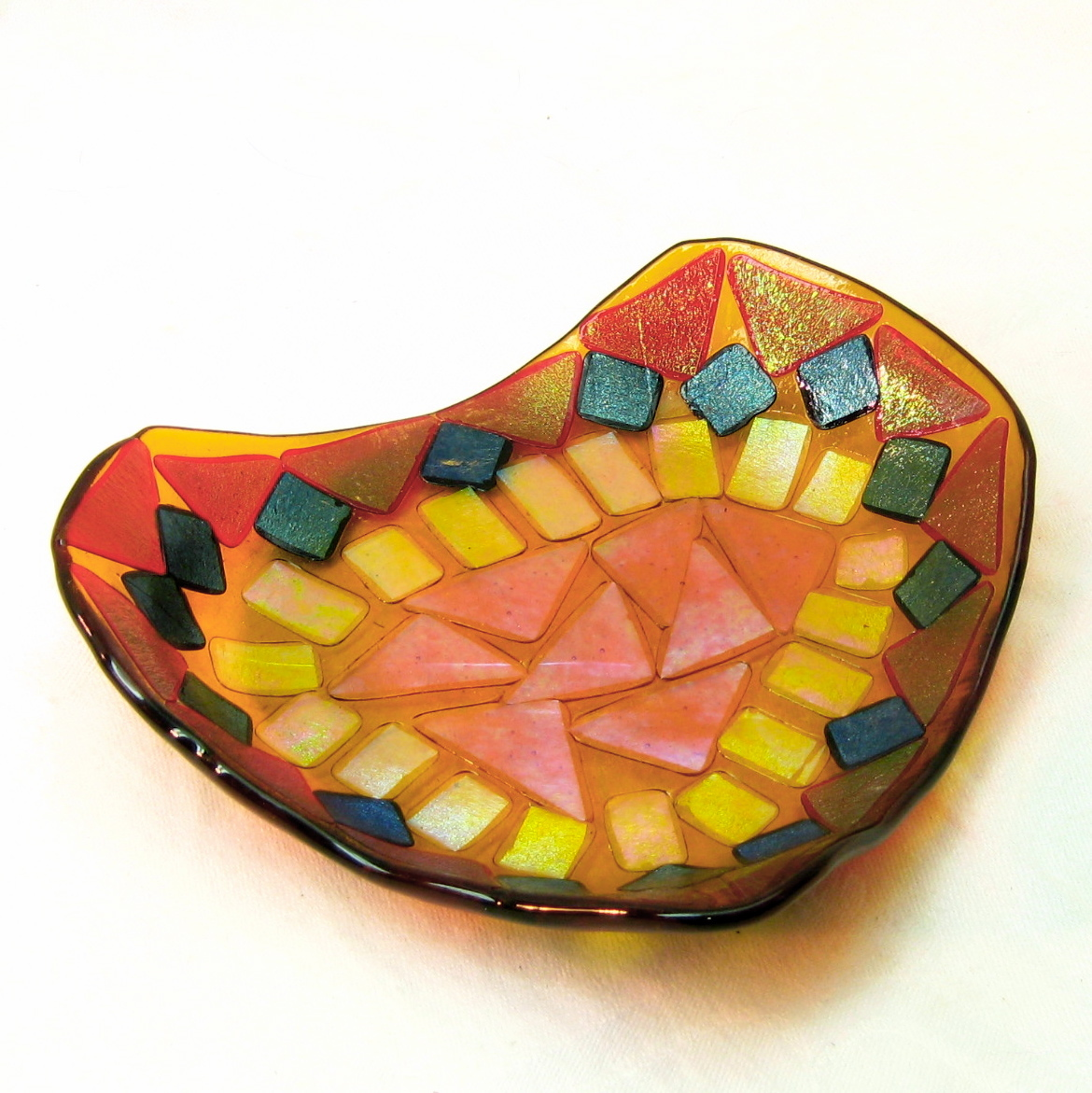 iridescent mosaic fused glass dish