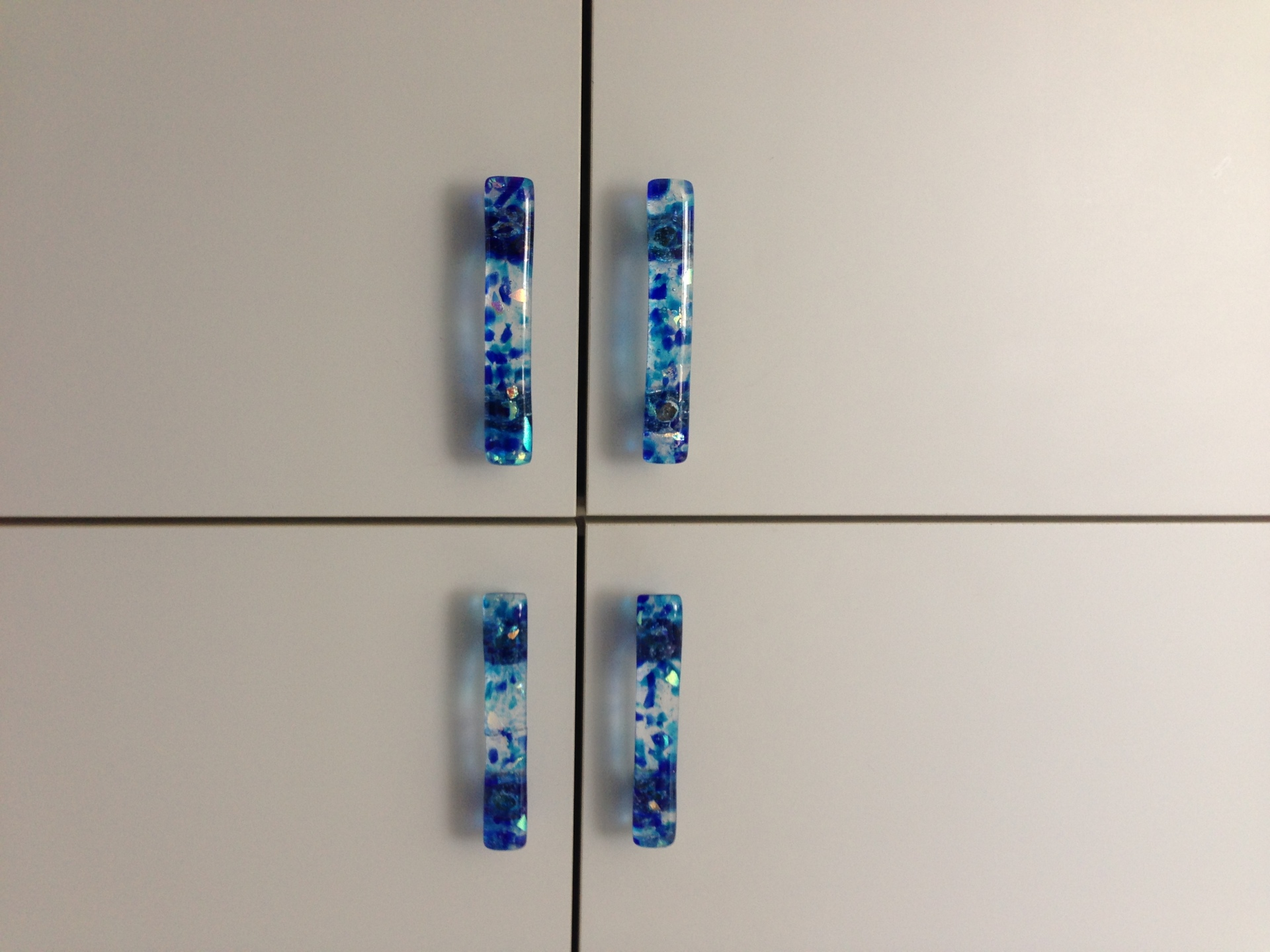 """Torch Lake"" handmade glass hardware handles."