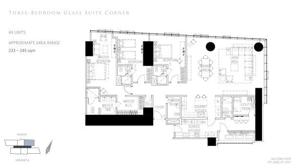 Park Central Tower 2 bedroom glass suite corner floor plan