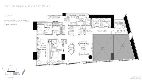 Park Central Tower 2 bedroom Gallery Villa floor plan; with private elevator