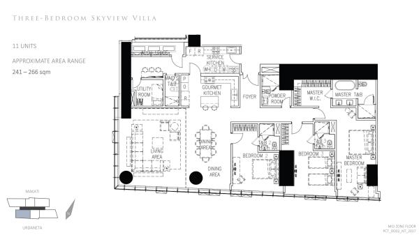 park central towers 3 bedroom skyview villa floor plan; double volume.high ceiling living area
