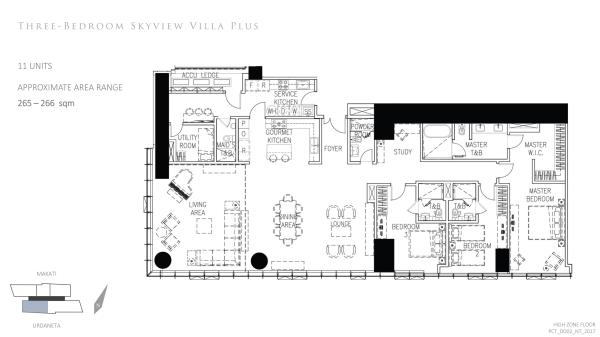 park central towers 3 bedroom skyview villa plus floor plan, a unit with double volume/high ceiling living area