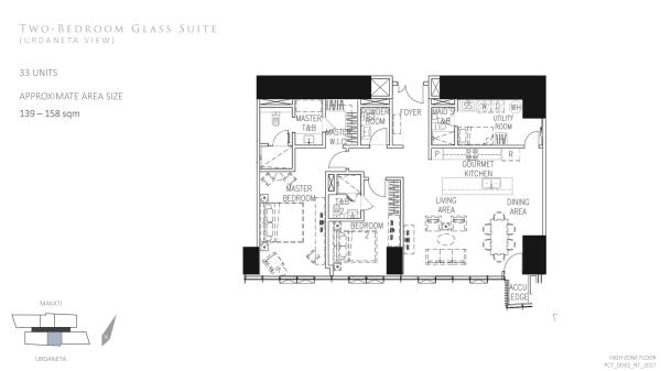 Park Central Tower 2 bedroom glass suite floor plan