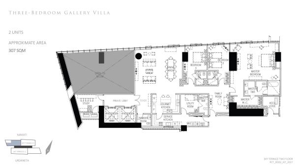 Parl Central towers 3 bedroom gallery villa floor plan with private elevator