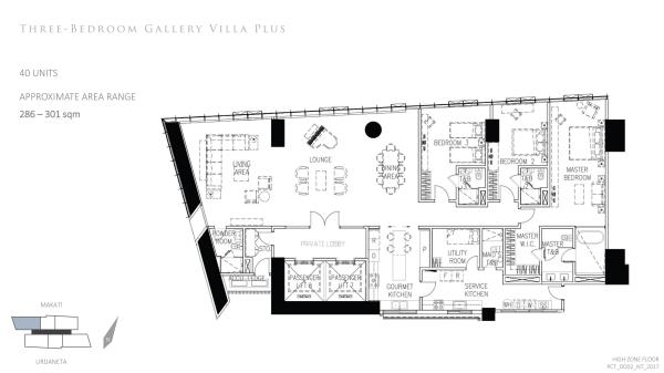 park central towers 3 BEDROOM GALLERY VILLA PLUS floor plan with private elevator