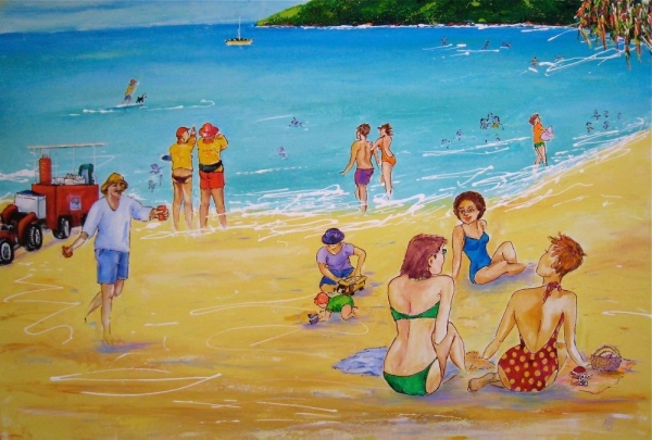 'Playing on Noosa Beach'©