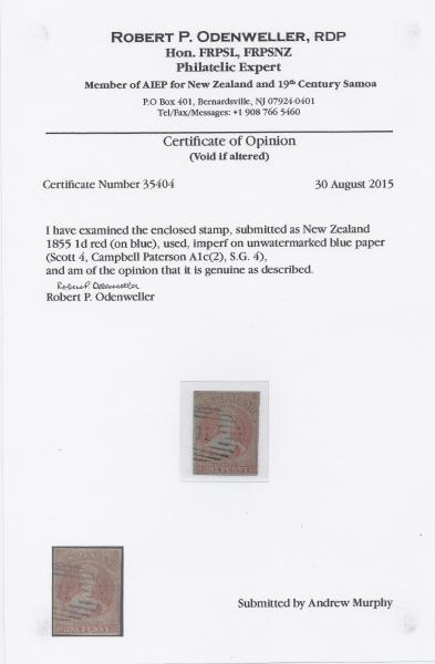 Odenweller Cert.  NZ SG 4