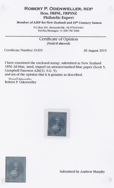 SG. 5 NZ Odenweller Cert.