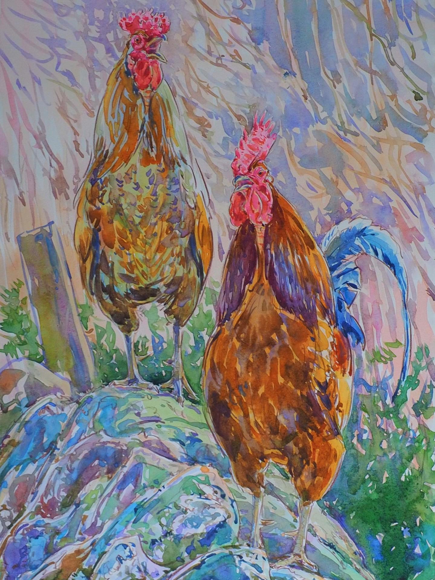 Cockerels on Wall, Dallowgill
