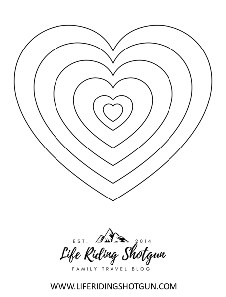 Hearts Coloring Page, Easy