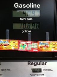 Tape lottery tickets (or a kind note) onto a gas pump.