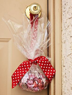 Leave a gift on someone's doorknob.