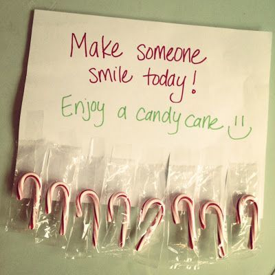 Tape leftover candy canes to a piece of paper and hang on a public bulletin board.