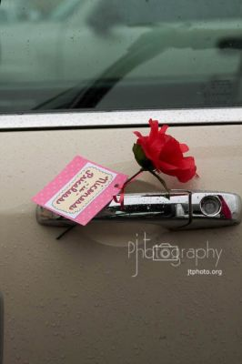 Leave a flower or note on someone's car door handle.