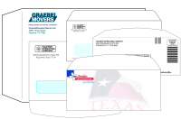Custom size and custom style envelopes from Texas Branders Printing, Houston, Texas.