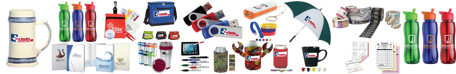 Photo shows custom USB Drives, power bank charger, insulated cooler bags, coffee mugs, stainless steel mugs, pens, koozies from Texas Branders, Houston, TX