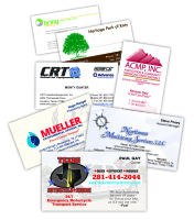 Single color, full color, foldover business cards from Texas Branders, Houston, Texas.
