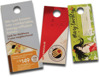 Door hangers and hang tags from Texas Branders Printing, Houston, Texas.