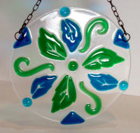 glass mandala, leaf mandala, fused glass home decor, leaf sun catcher, blue green sun catcher, unique home decor