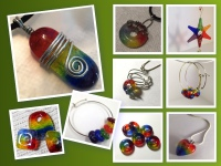 jewelry making supplies, glass cabochon, handmade, cabochon,lgbt rainbow cabochon, fused glass pendant, unique jewelry, rainbow beads, lgbt ornament, xmas ornament