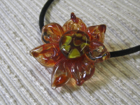 unique jewelry, gift for her, lamp work focal bead, handmade jewelry, flower jewelry, glass sculpture