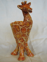 handmade, stoneware pottery, home decor, clay appetizer bowl, animal sculpture, giraffe sculpture, giraffe, whimsical ,