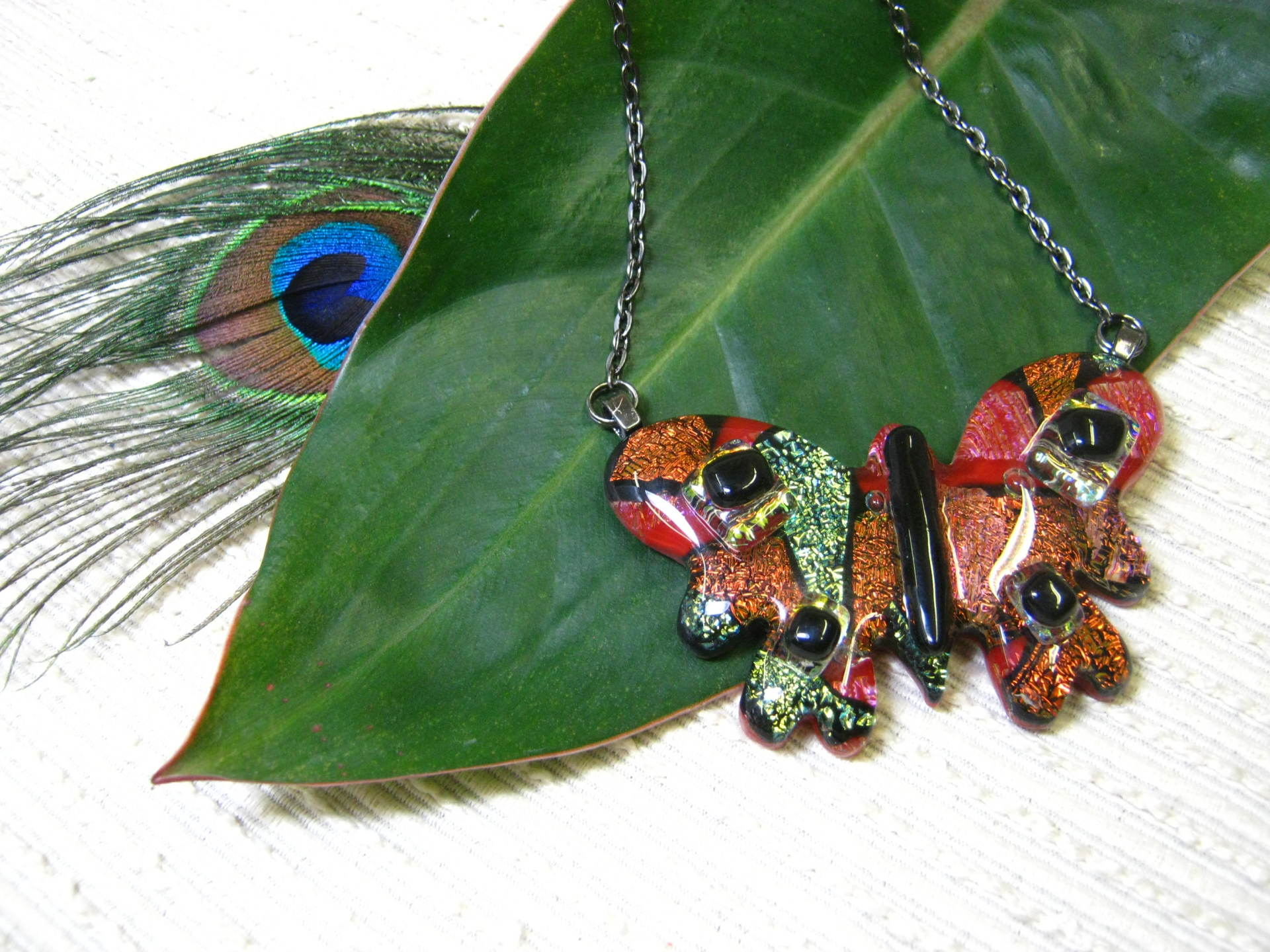 butterfly jewelry, unique, handmade jewelry, gift for her, glass jewelry, necklace, ooak,