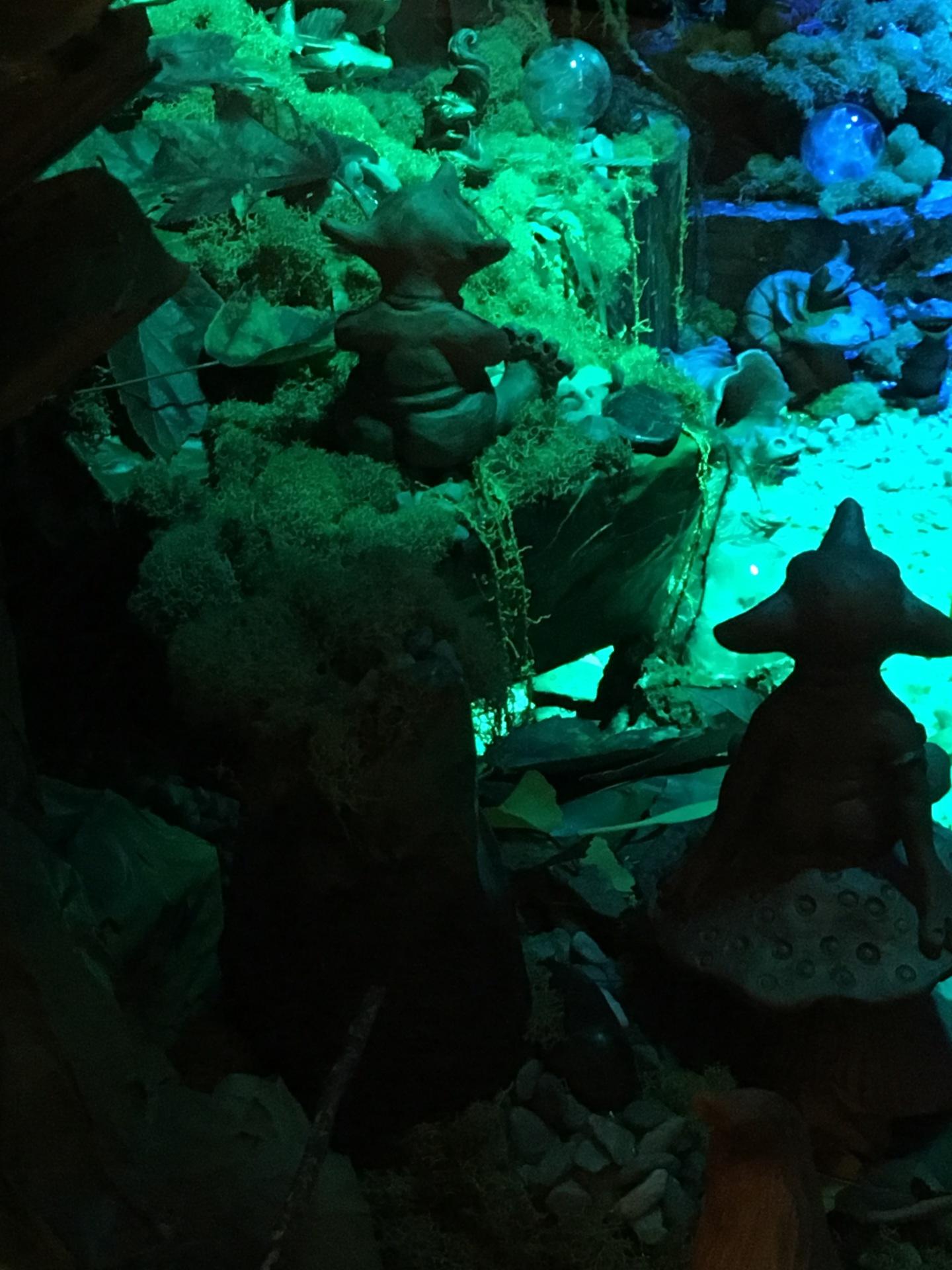 mushroom elves, flower orb elves, science fiction sculpture, by cindi hardwicke