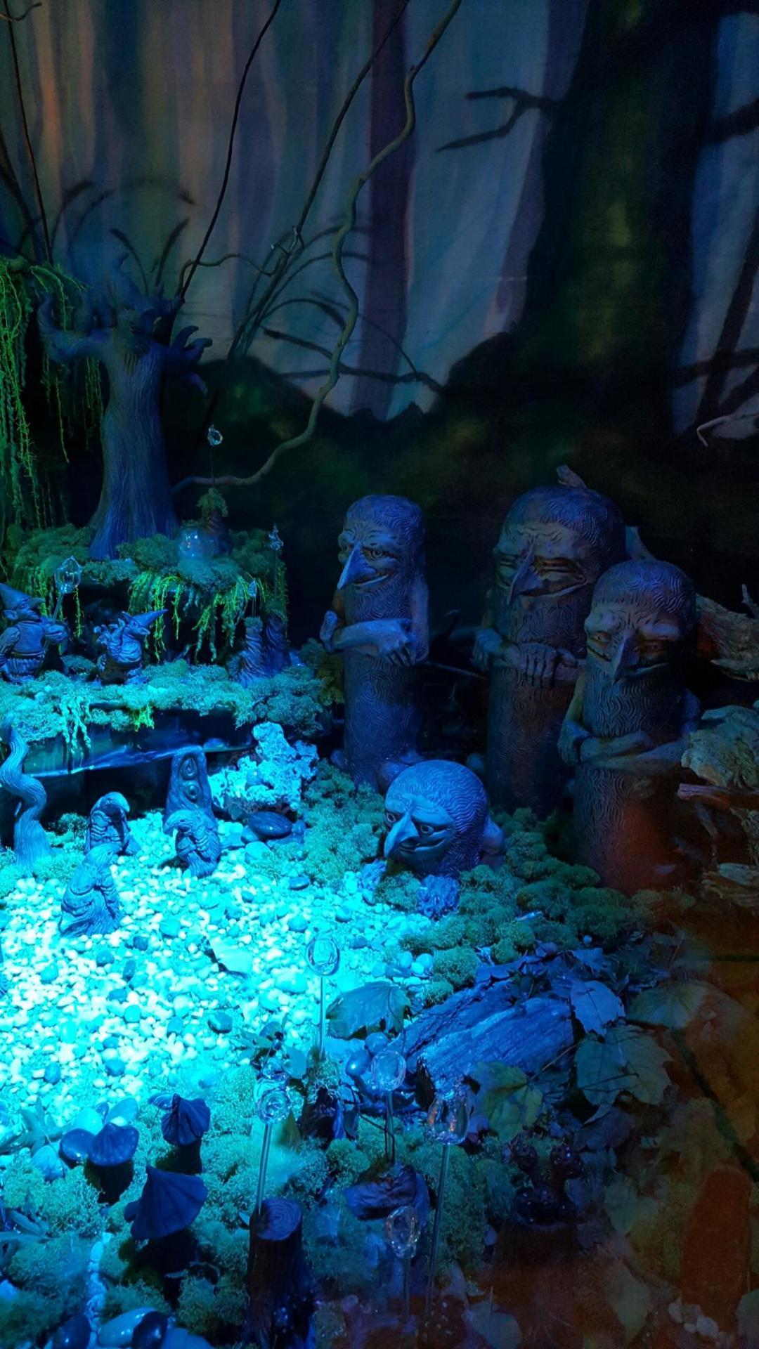 diorama, fantasy sculpture, window diorama, window display, fantasy realm, handmade pottery, by zack rudy, by cindi hardwicke