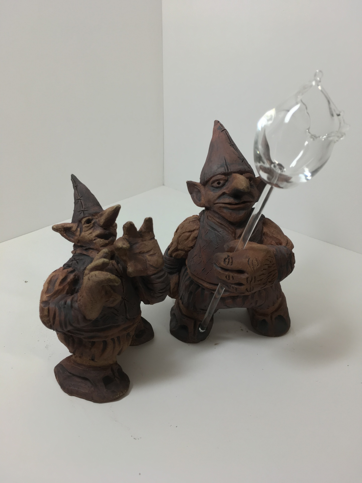 clay gnomes, pottery sculpture, science fiction sculpture, zack rudy