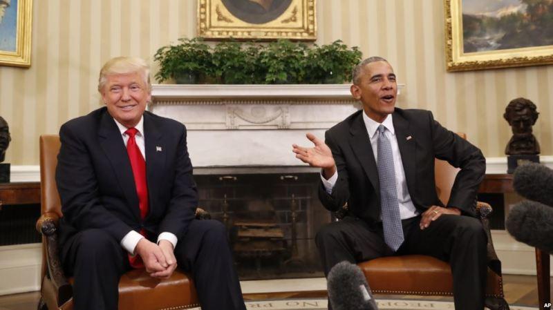 Obama iyo Trump oo Ku Kulmay Aqalka Cad
