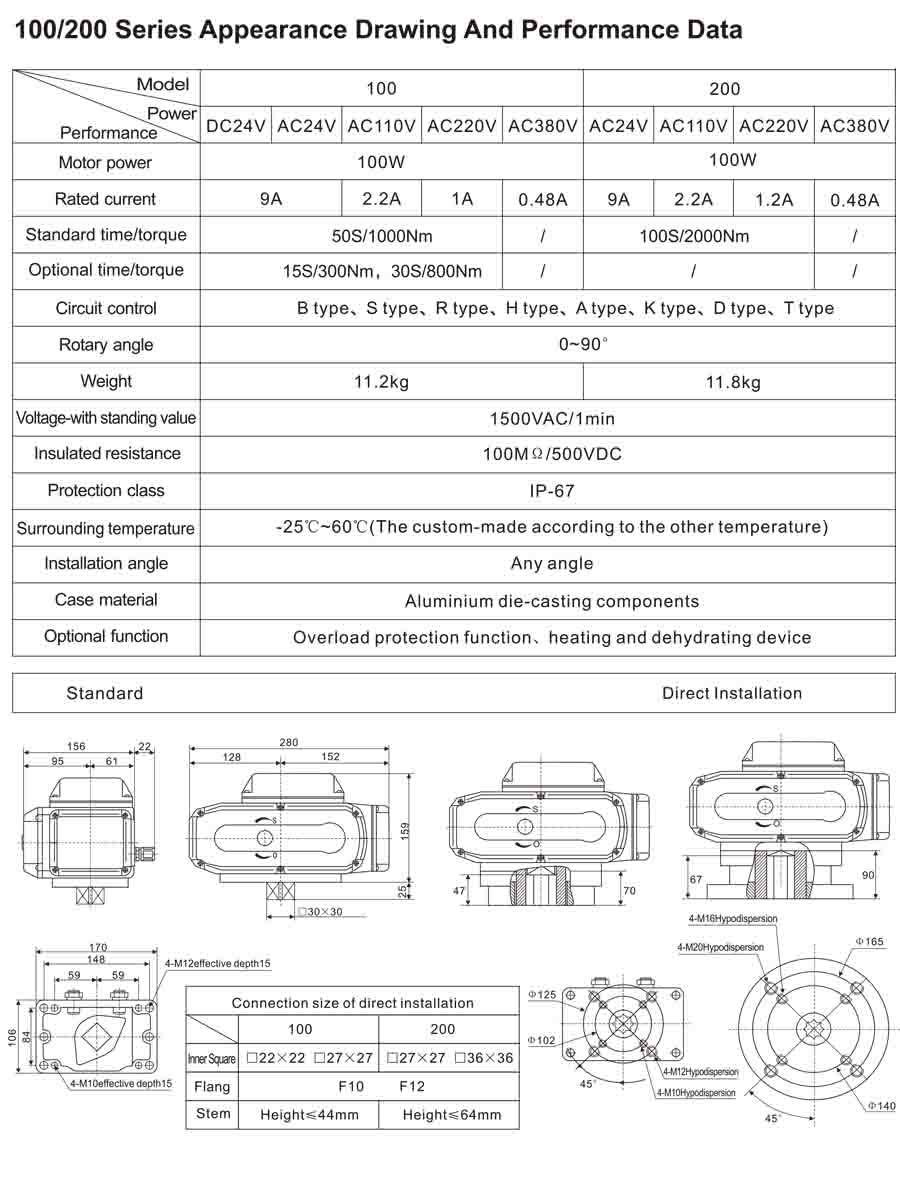 TL-100-200 series electric actuator dwg