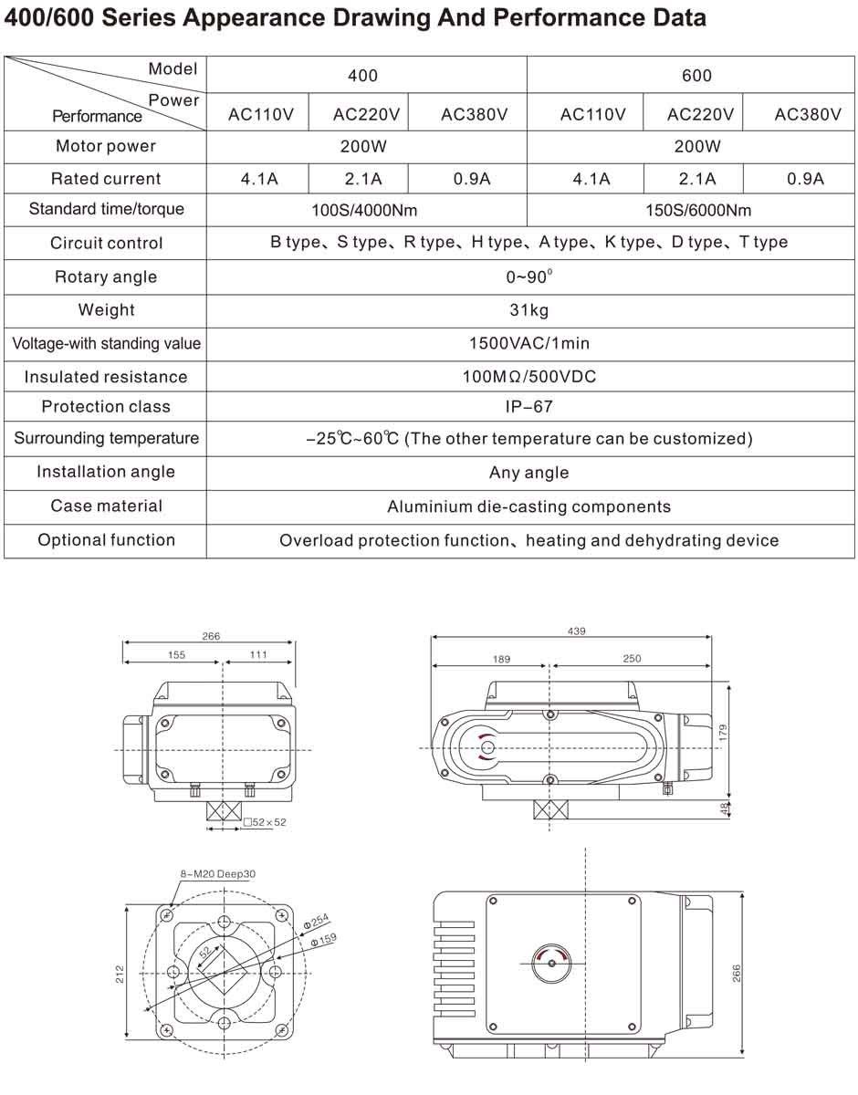 TL-400-600 series electric actuator dwg