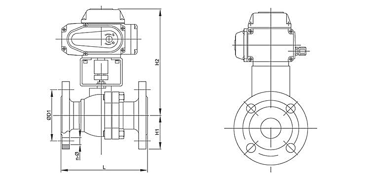 TL-430 electric 2 piece design ball valve dwg