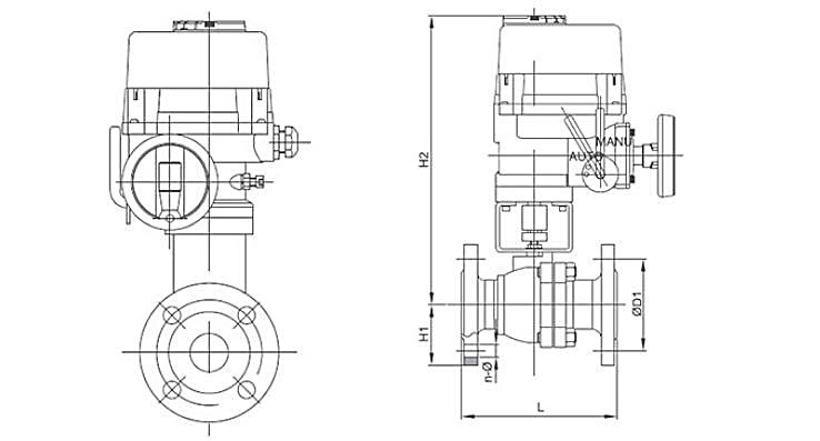TL-440 electric 2 piece design ball valve with TQ actuator dwg