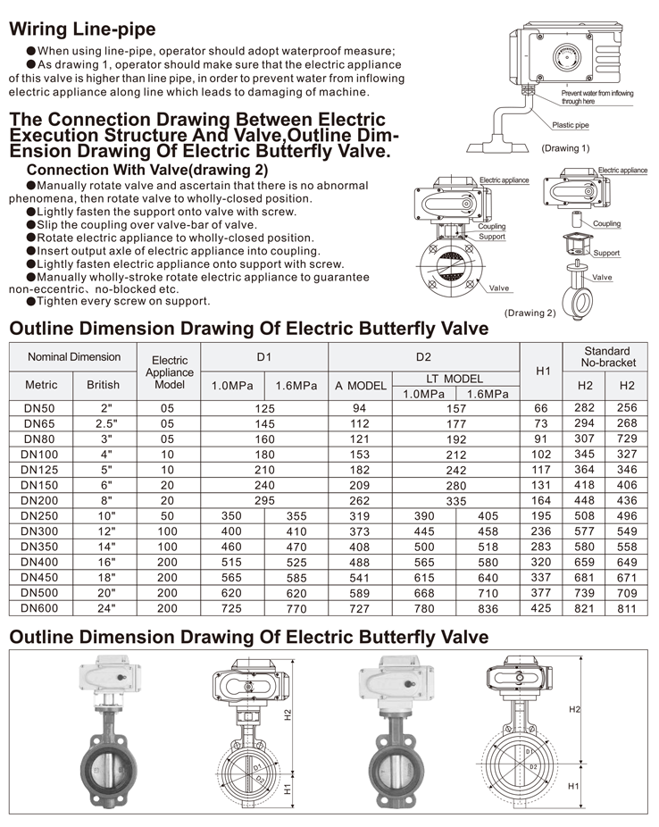 TL-510 electric butterfly valve information