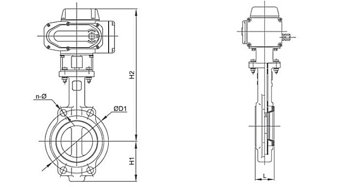 TL-520 electric butterfly valve dwg