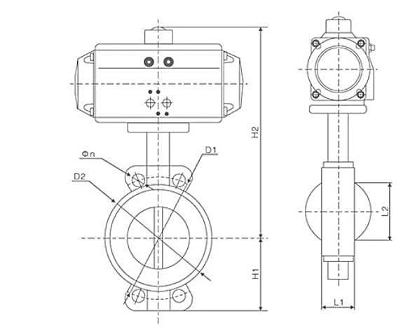 TL-550 pneumatic butterfly valve dwg