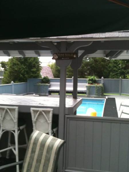 Pool Deck, Railing, Custom Bench, Planters, Bar