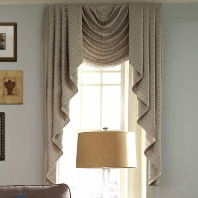swags and cascades, valance, board mounted