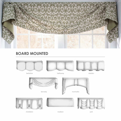 valance, window treatments, board mounted