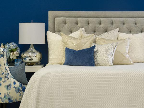 bedroom, custom bedding, headboard, pillows
