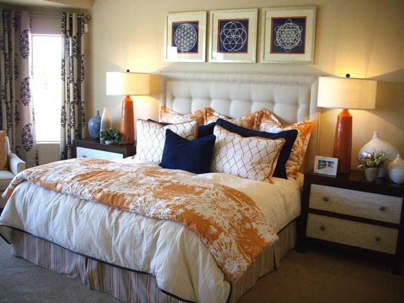 bedspread, pillows, headboard