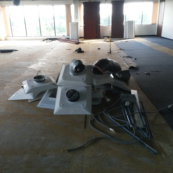 Ceiling grid removal, carpet and lighting